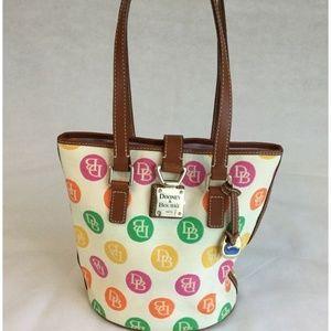 DOONEY & BOURKE Bucket Purse Bag Pink Green Polka